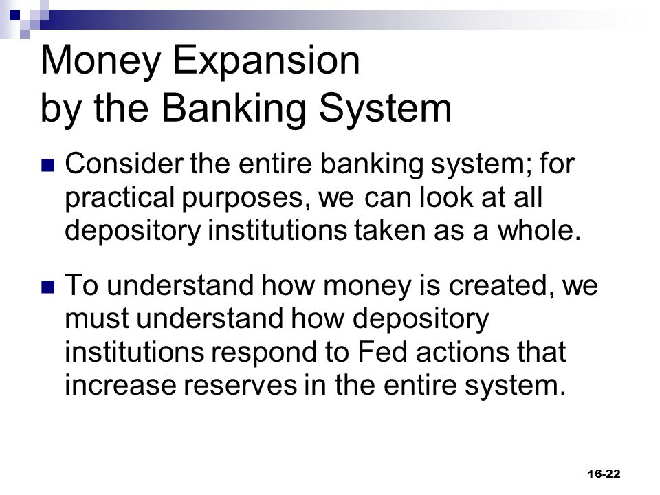 Money Expansion by the Banking System