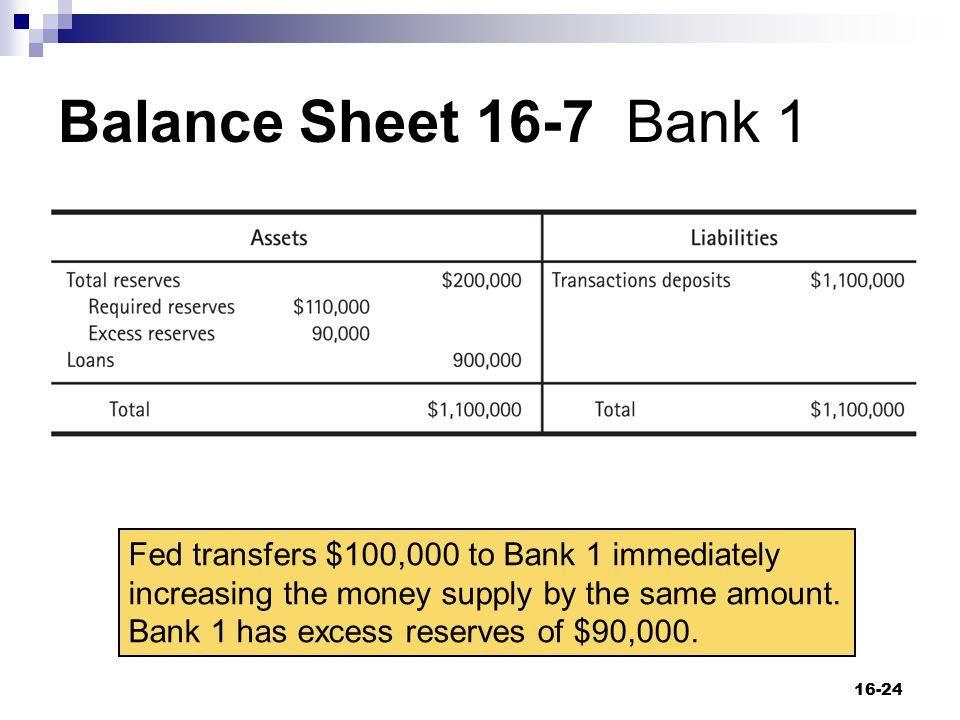 Balance Sheet 16-7 Bank 1