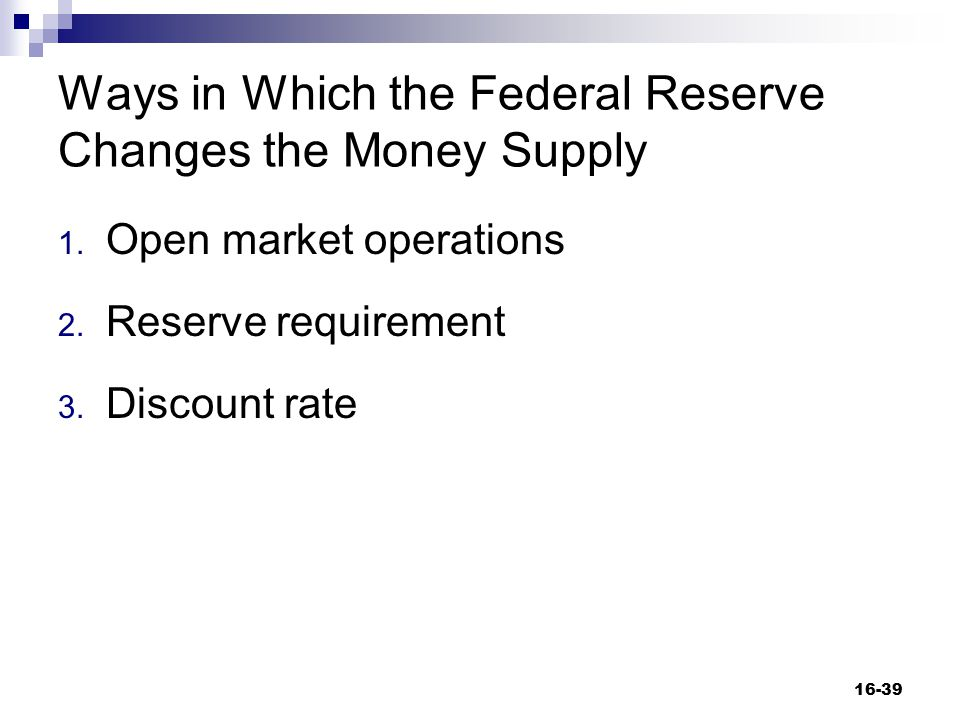 Ways in Which the Federal Reserve Changes the Money Supply
