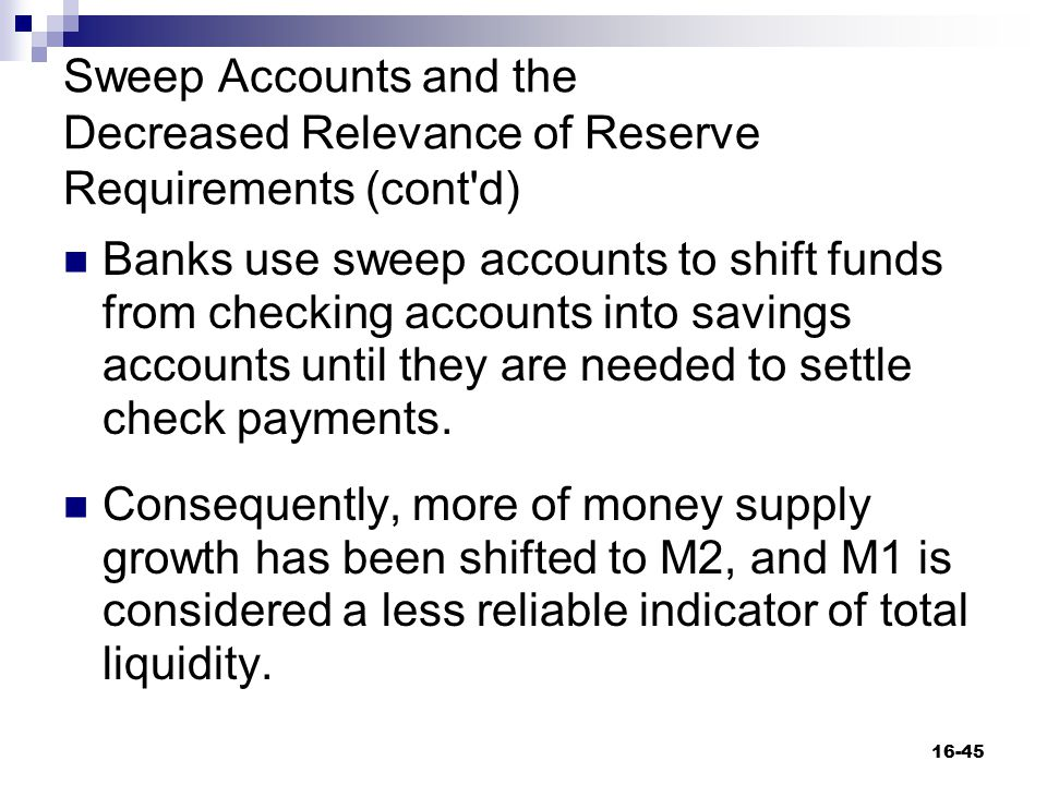 Sweep Accounts and the Decreased Relevance of Reserve Requirements (cont d)