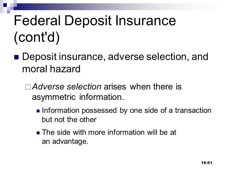 Federal Deposit Insurance (cont d)