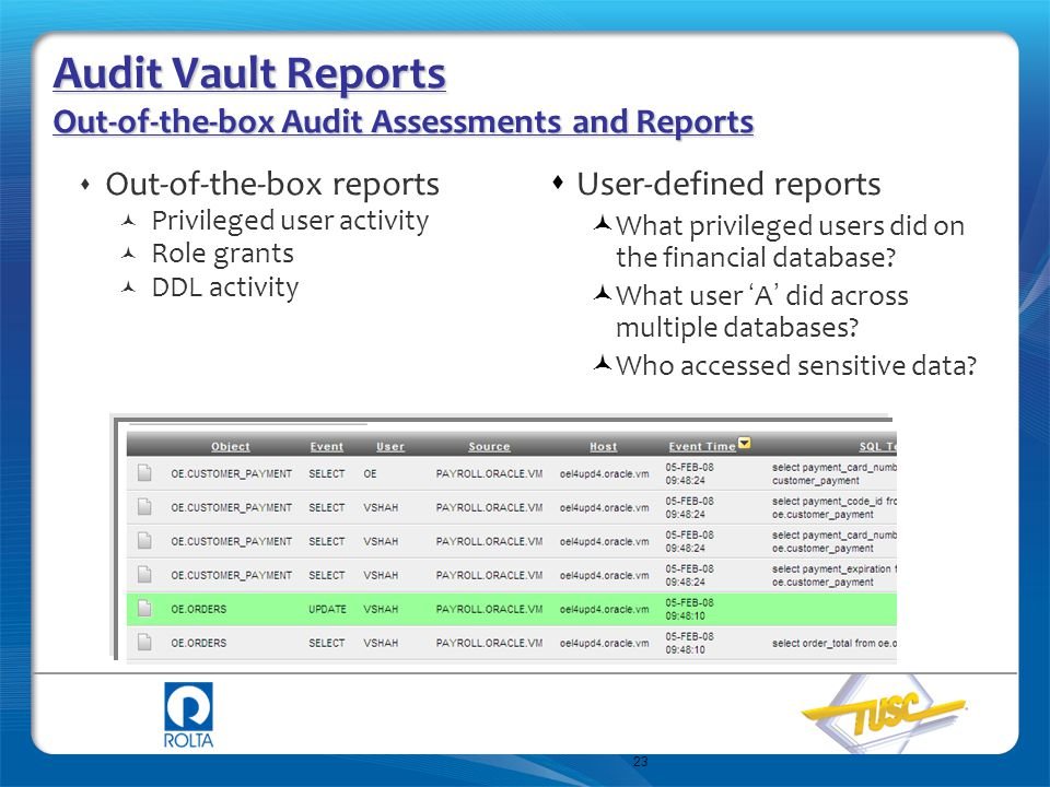 Audit Vault Reports Out-of-the-box Audit Assessments and Reports