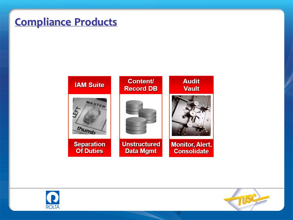 Compliance Products Content/ Audit IAM Suite Record DB Vault