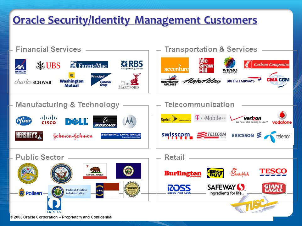 Oracle Security/Identity Management Customers