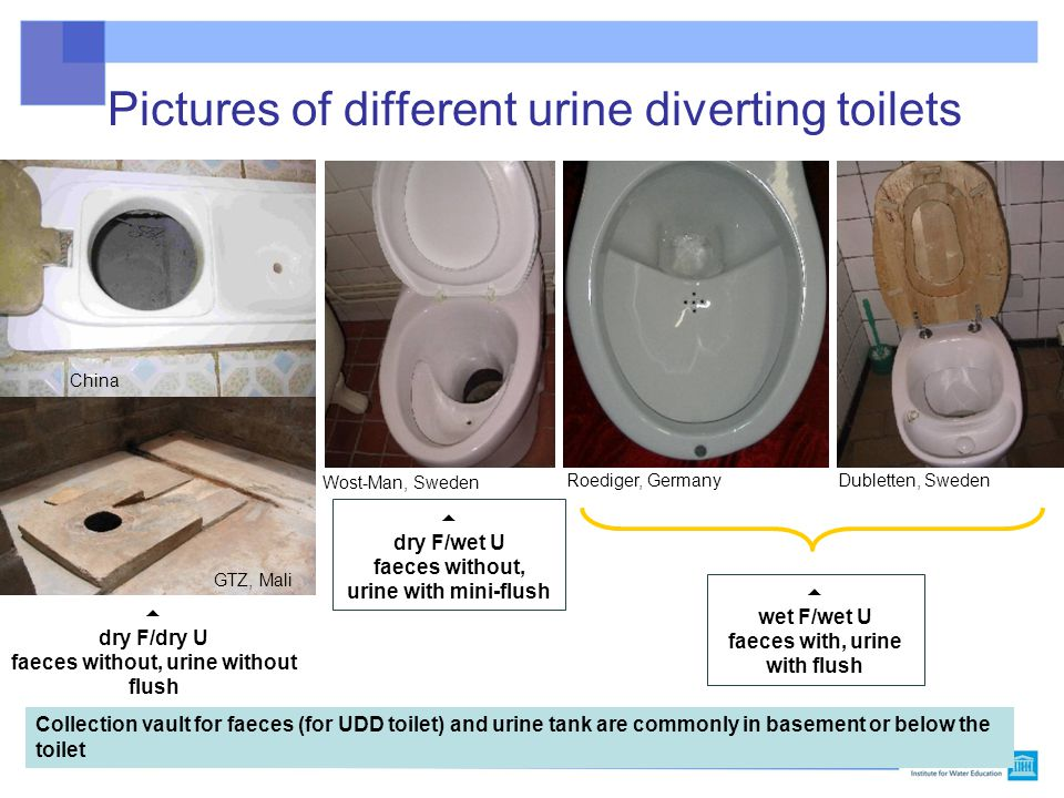 Pictures of different urine diverting toilets