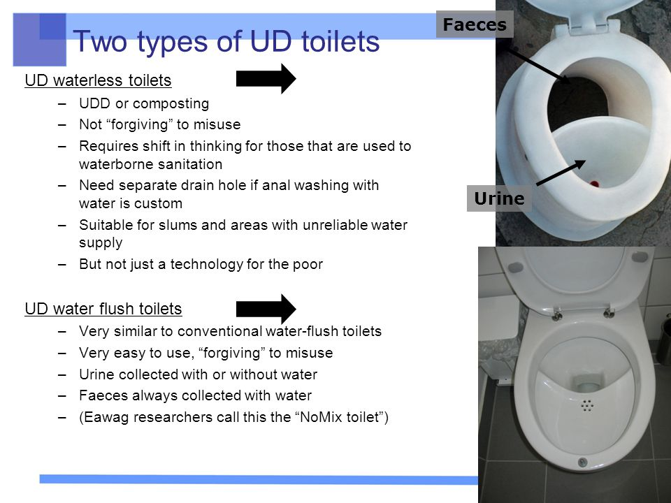 Two types of UD toilets Faeces UD waterless toilets
