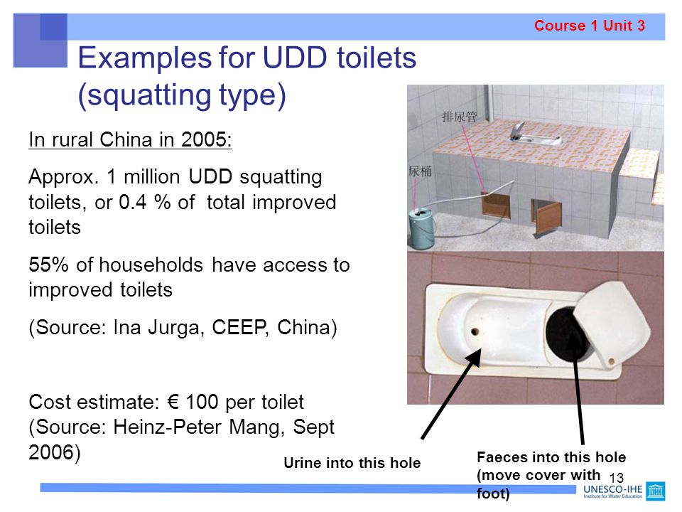 Examples for UDD toilets (squatting type)