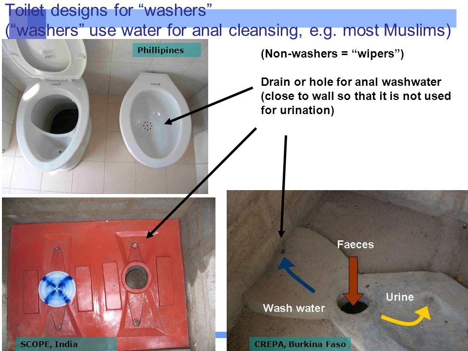 Toilet designs for washers ( washers use water for anal cleansing, e.g. most Muslims)