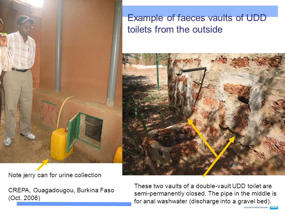 Example of faeces vaults of UDD toilets from the outside
