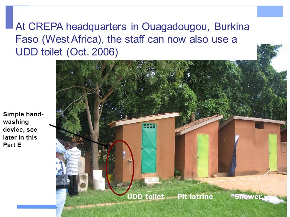 At CREPA headquarters in Ouagadougou, Burkina Faso (West Africa), the staff can now also use a UDD toilet (Oct. 2006)