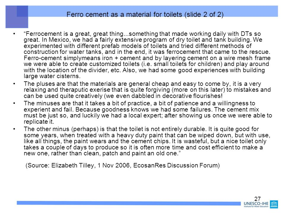 Ferro cement as a material for toilets (slide 2 of 2)