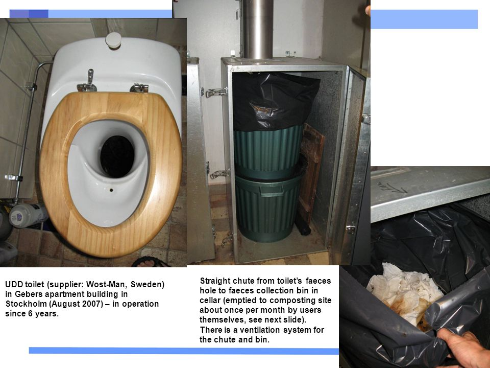 Straight chute from toilet's faeces hole to faeces collection bin in cellar (emptied to composting site about once per month by users themselves, see next slide).