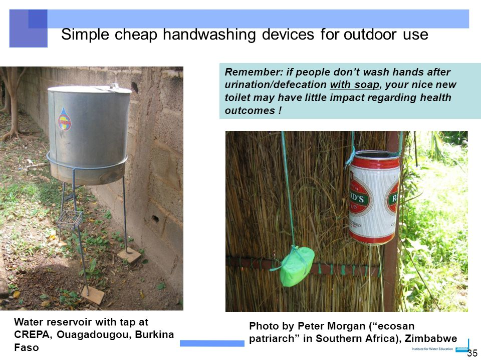 Simple cheap handwashing devices for outdoor use