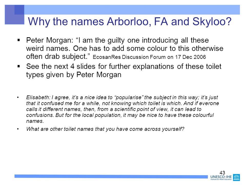 Why the names Arborloo, FA and Skyloo