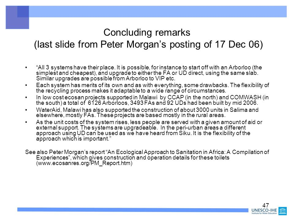 Concluding remarks (last slide from Peter Morgan's posting of 17 Dec 06)