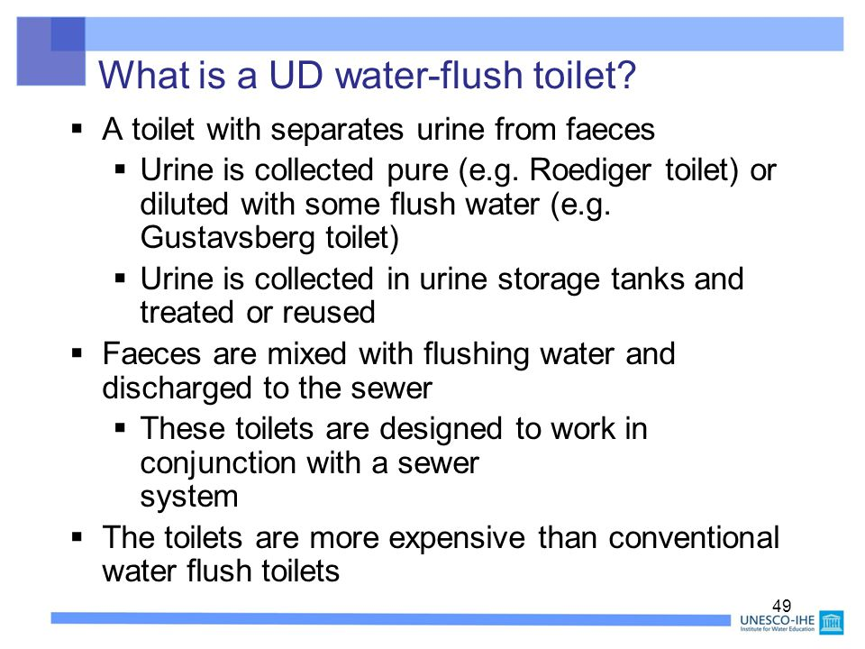 What is a UD water-flush toilet