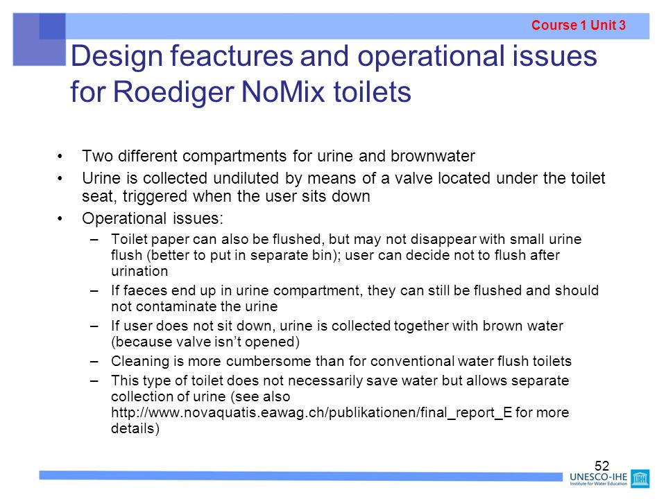 Design feactures and operational issues for Roediger NoMix toilets