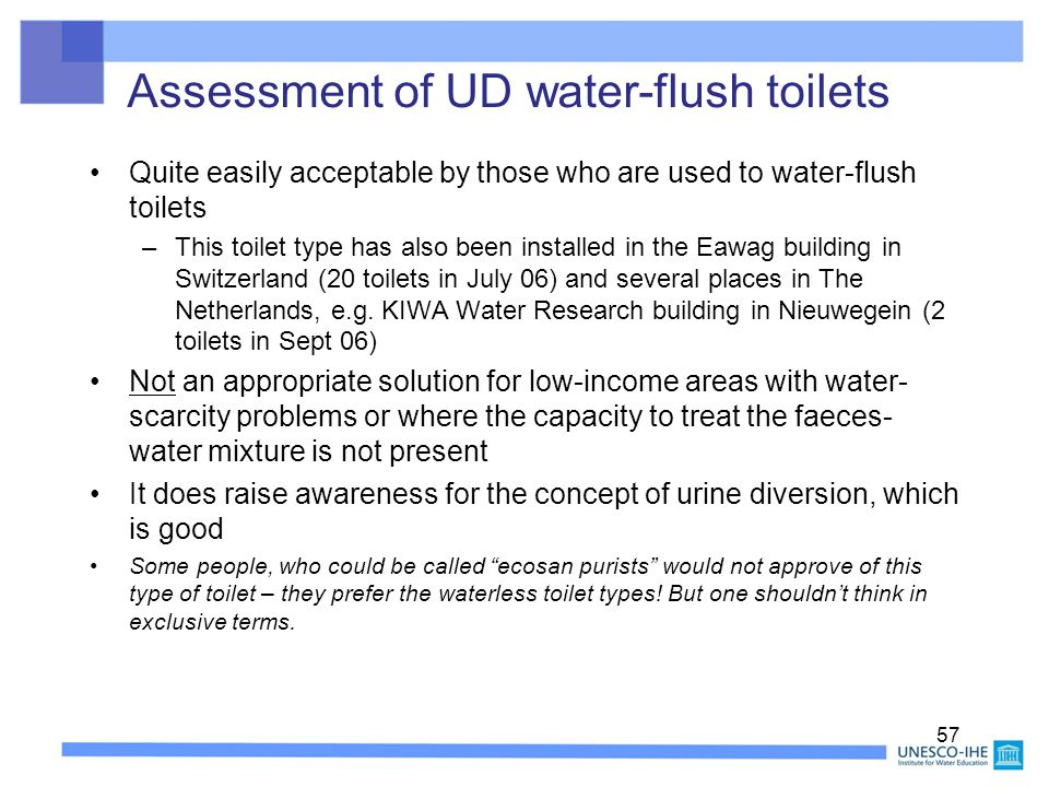 Assessment of UD water-flush toilets