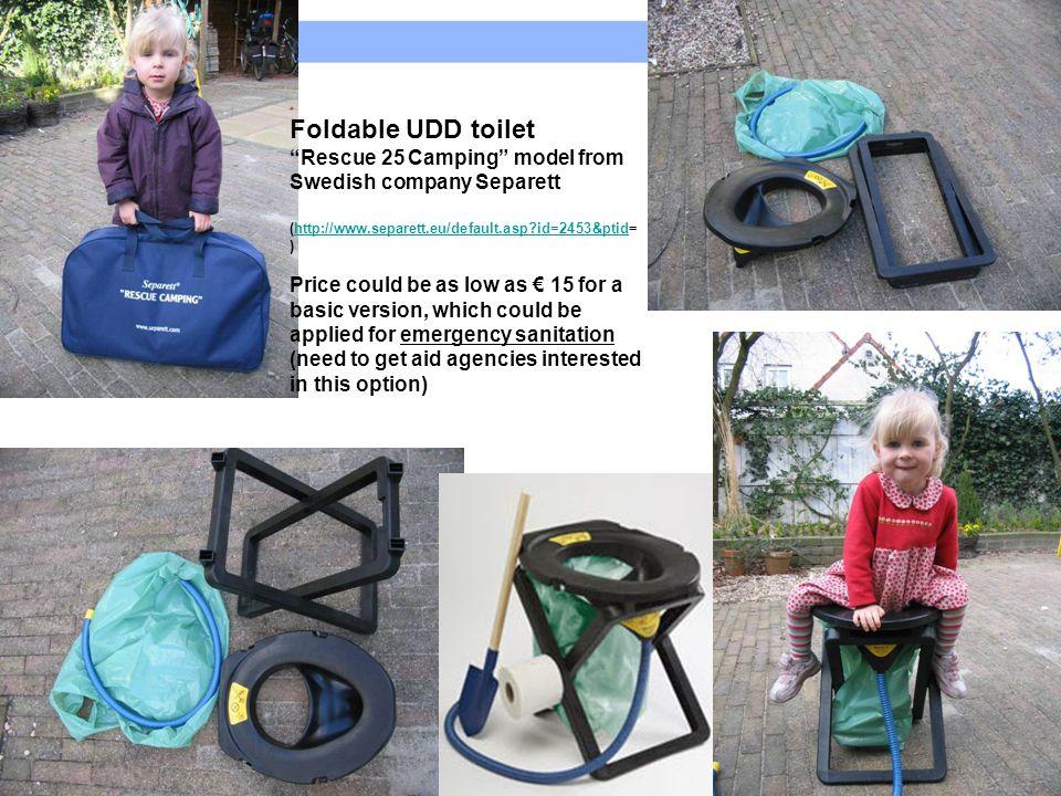 Foldable UDD toilet Rescue 25 Camping model from Swedish company Separett. (http://www.separett.eu/default.asp id=2453&ptid=)