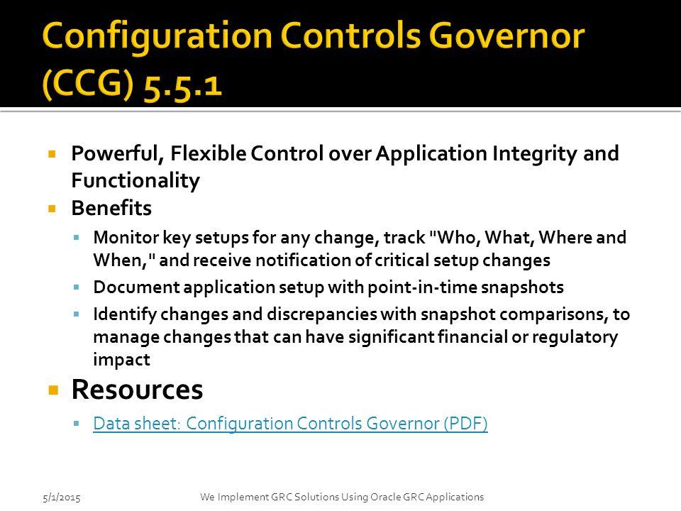 Configuration Controls Governor (CCG) 5.5.1