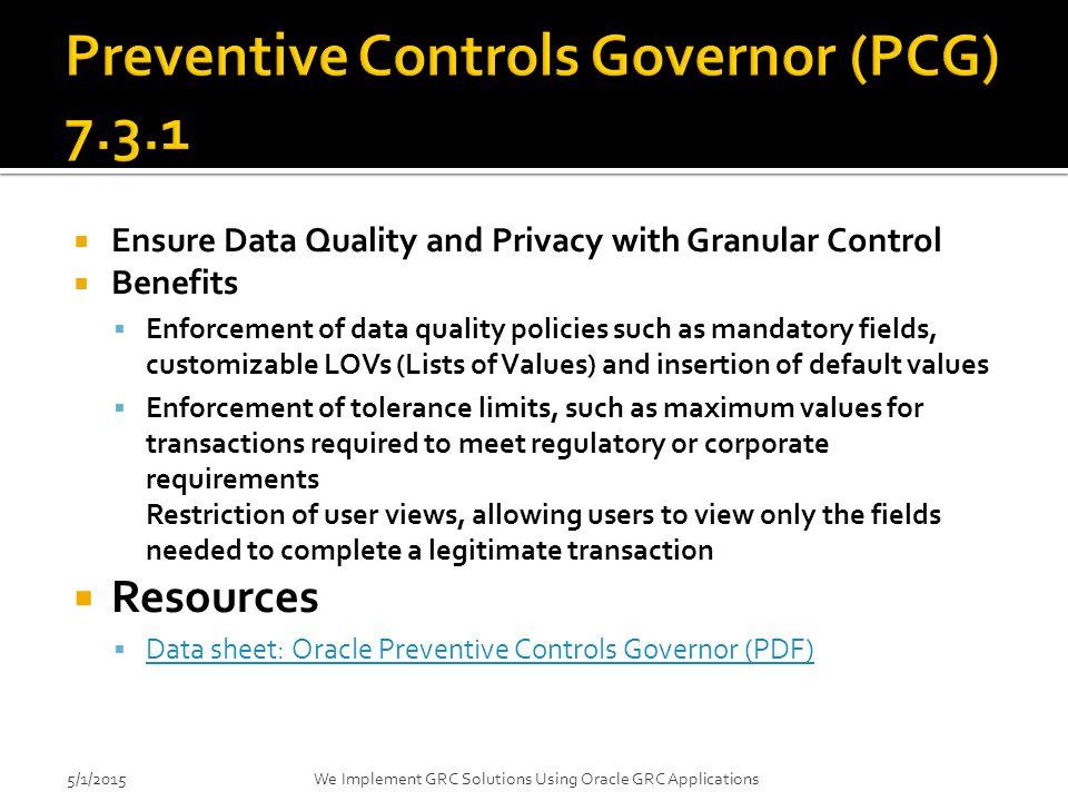 Preventive Controls Governor (PCG) 7.3.1
