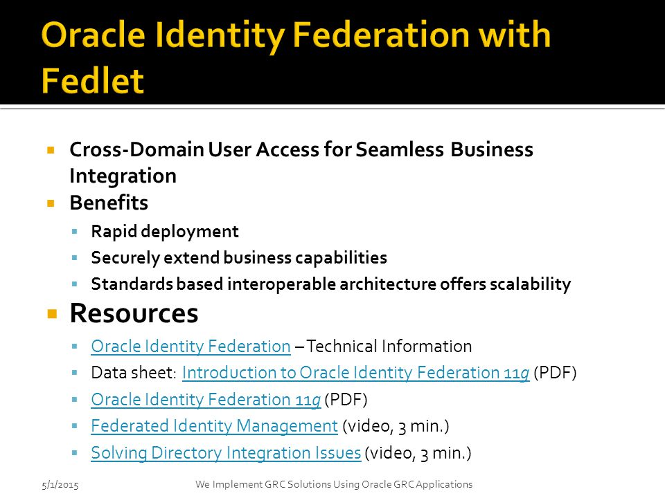 Oracle Identity Federation with Fedlet