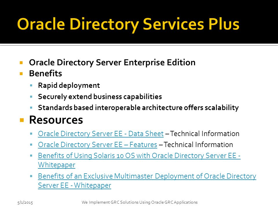 Oracle Directory Services Plus