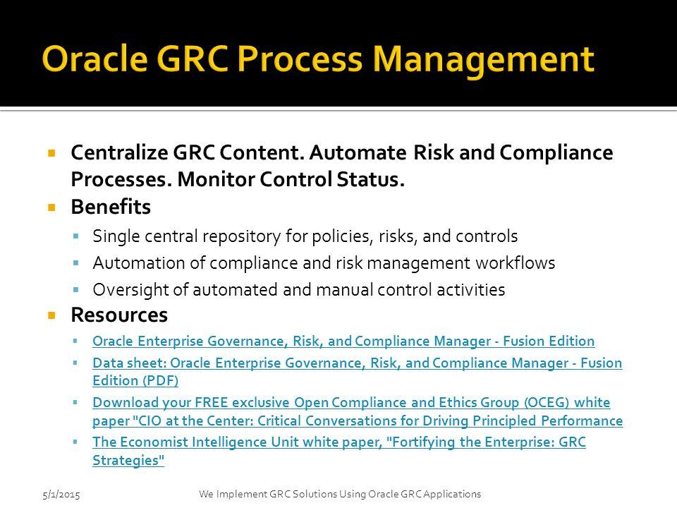 Oracle GRC Process Management