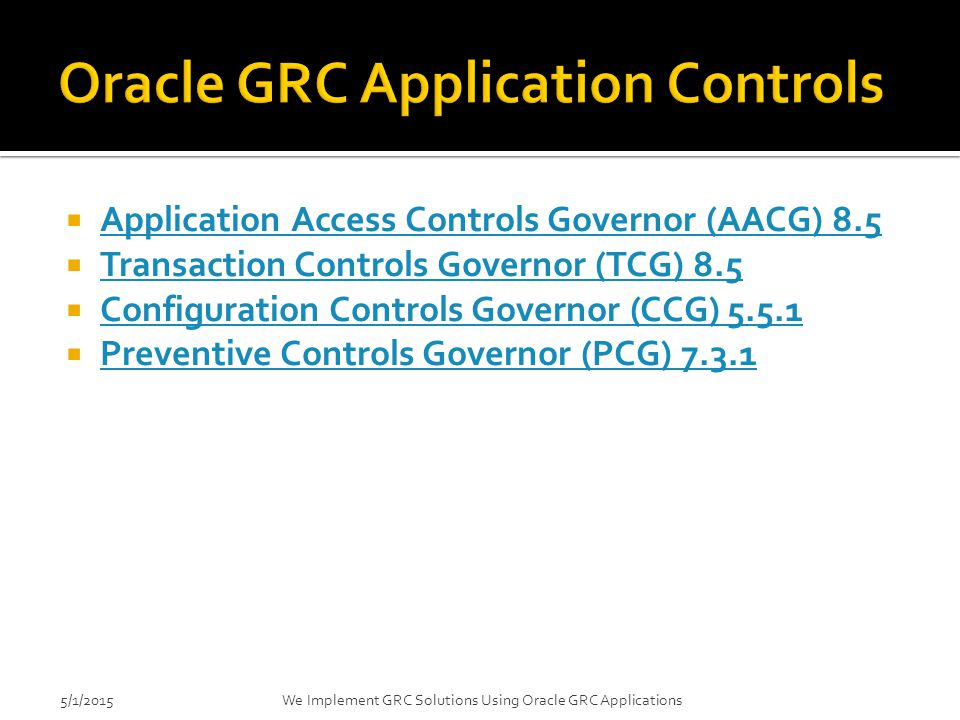 Oracle GRC Application Controls