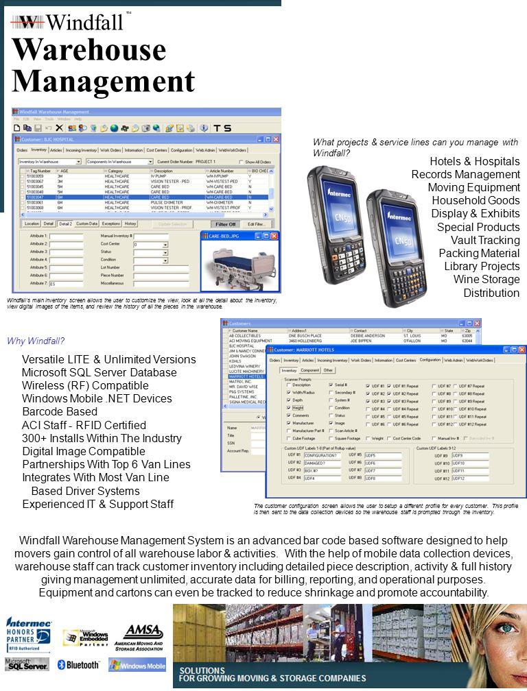 Warehouse Management Windfall Hotels & Hospitals Records Management