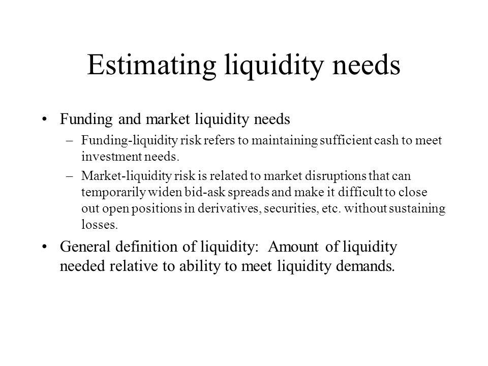 Estimating liquidity needs