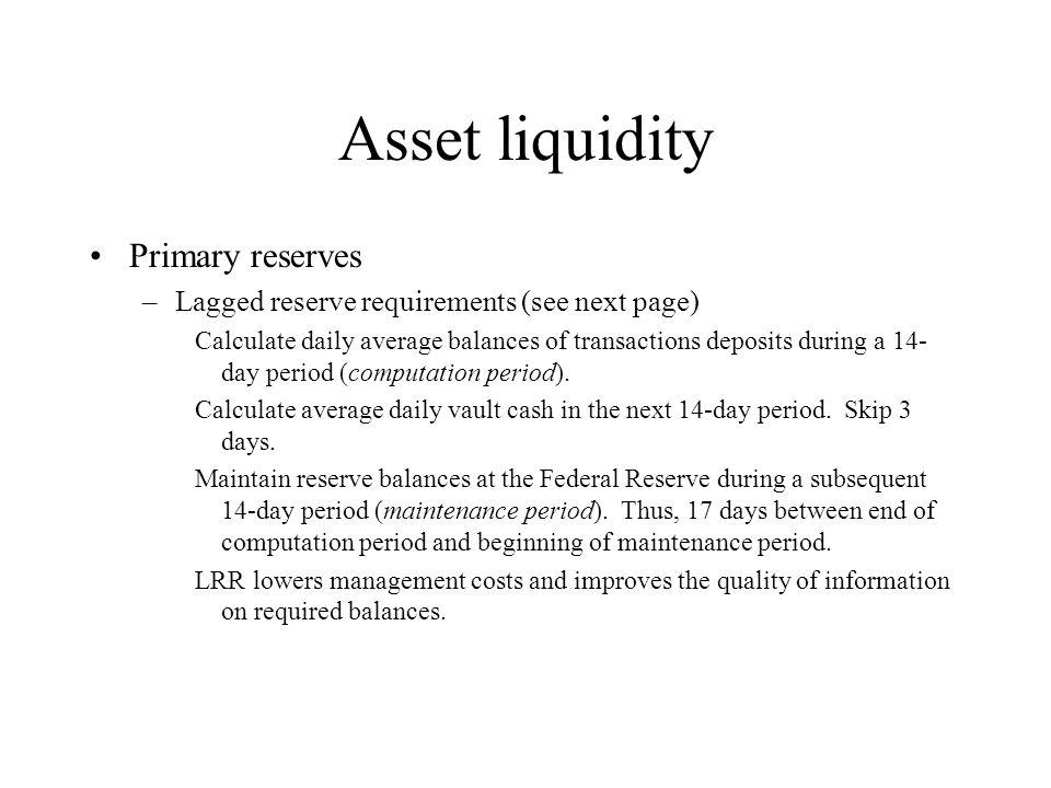Asset liquidity Primary reserves