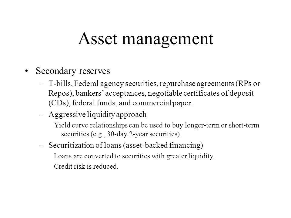 Asset management Secondary reserves