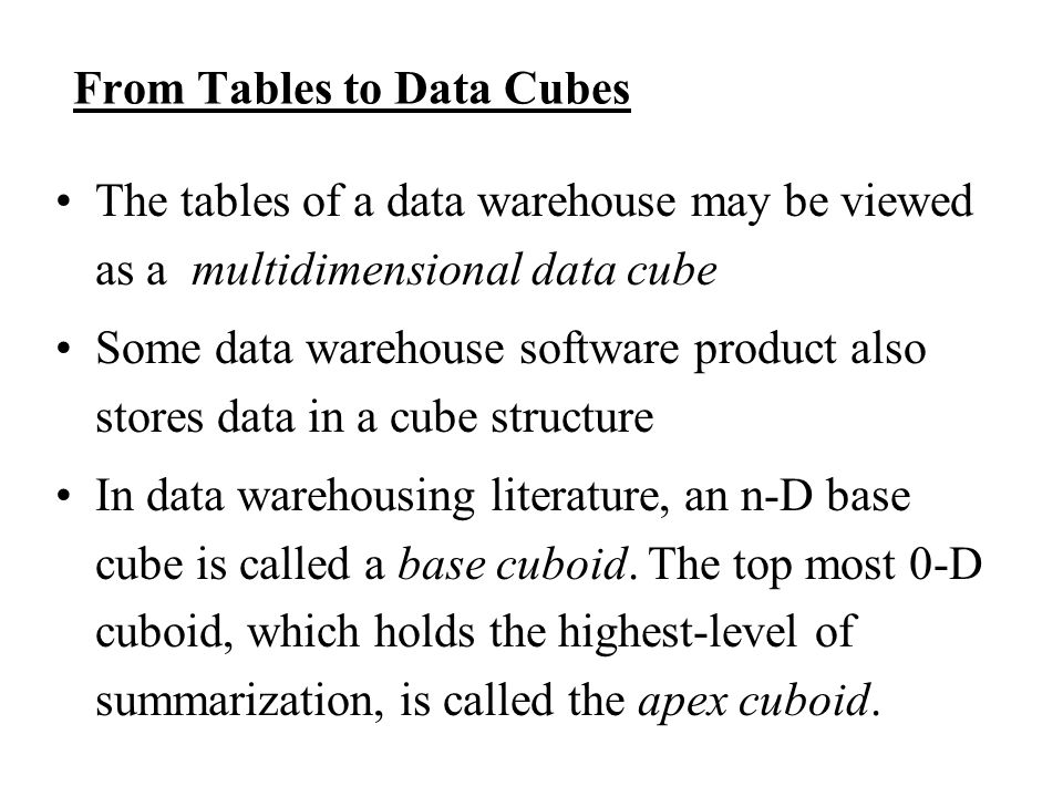 From Tables to Data Cubes
