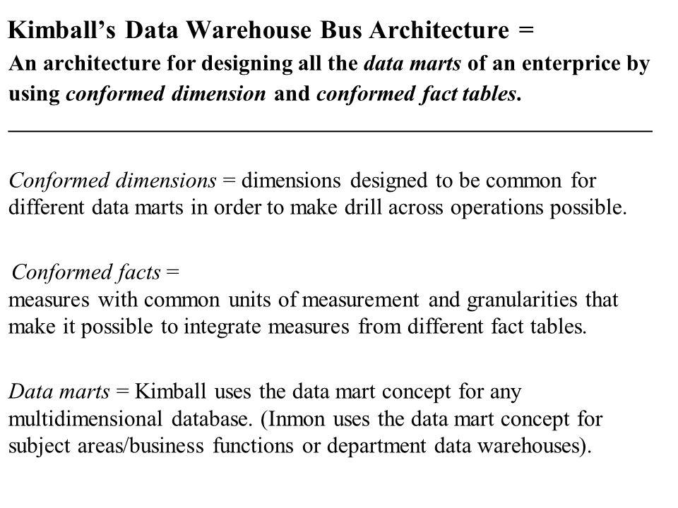 Kimball's Data Warehouse Bus Architecture =