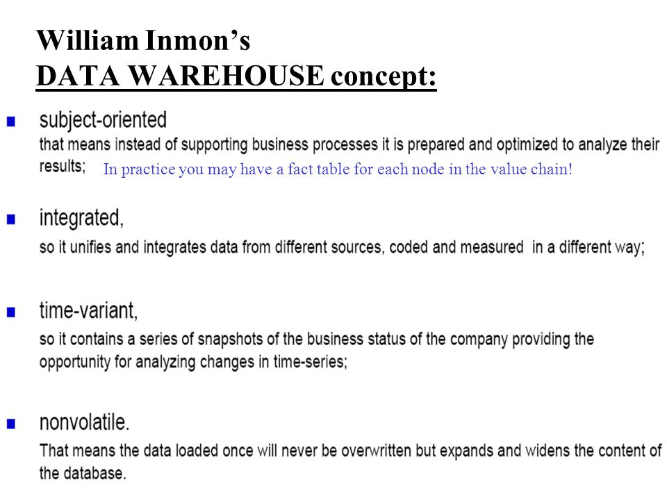 William Inmon's DATA WAREHOUSE concept: