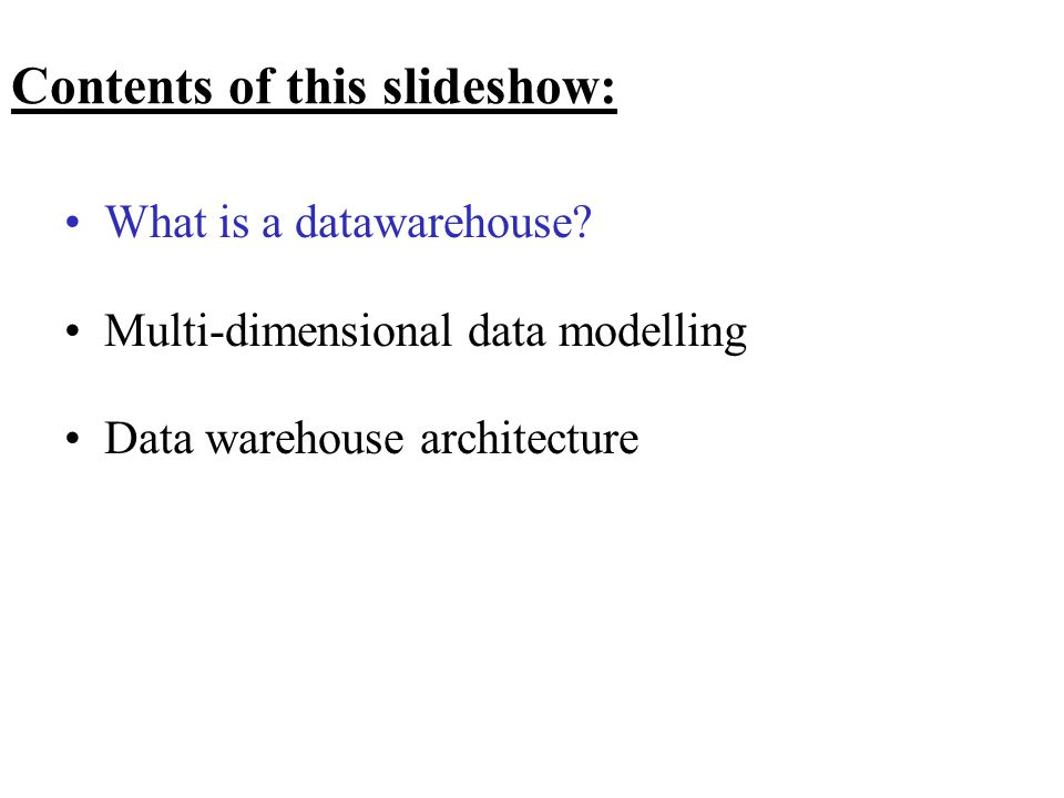 Contents of this slideshow: