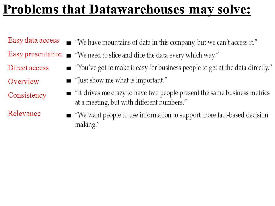 Problems that Datawarehouses may solve:
