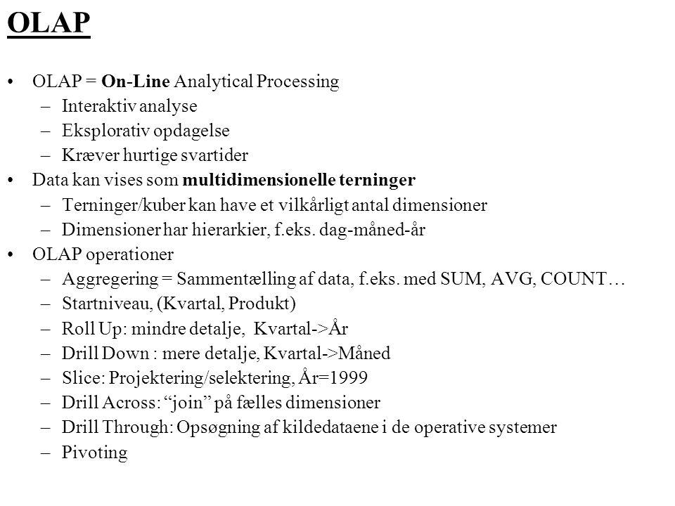 OLAP OLAP = On-Line Analytical Processing Interaktiv analyse