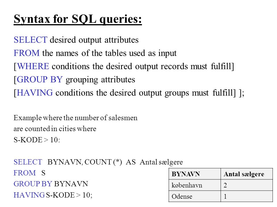 Syntax for SQL queries: