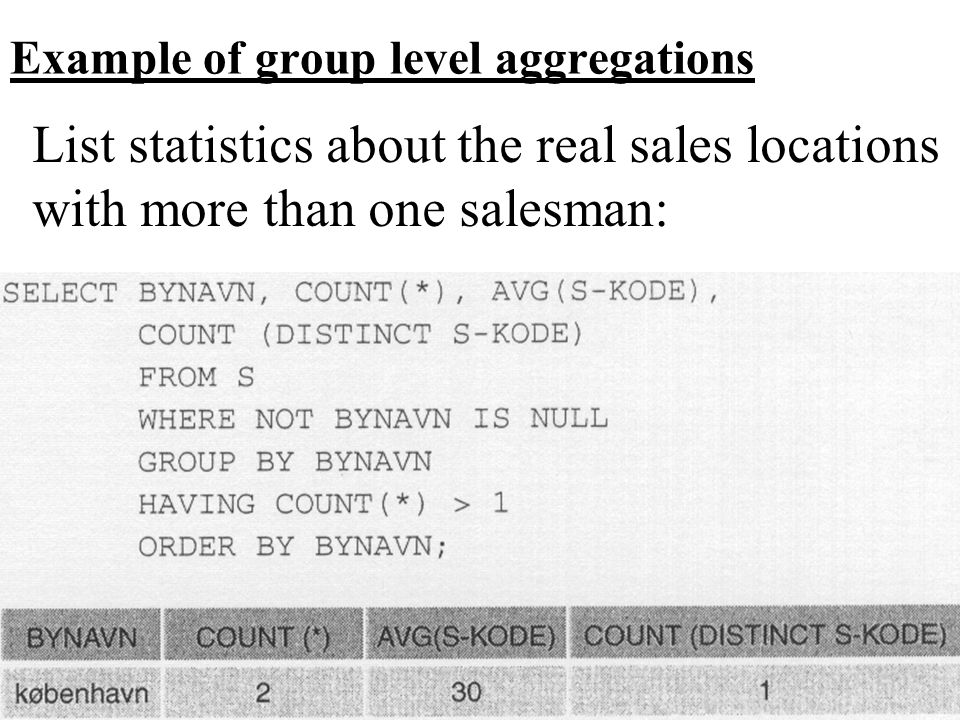 Example of group level aggregations