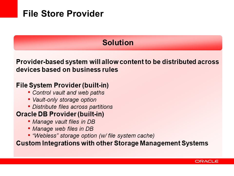 File Store Provider Solution