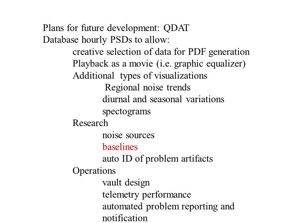 Plans for future development: QDAT