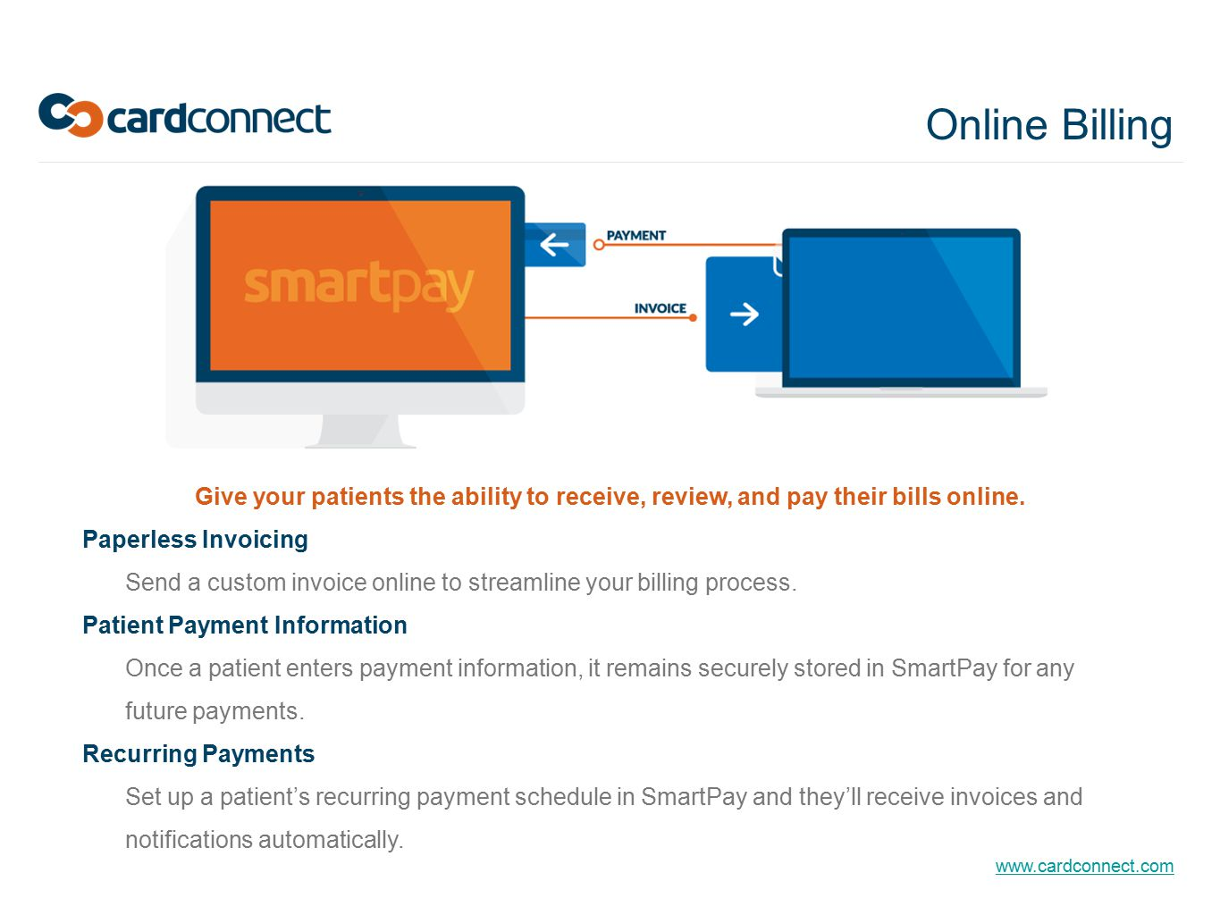 Online Billing Give your patients the ability to receive, review, and pay their bills online. Paperless Invoicing.