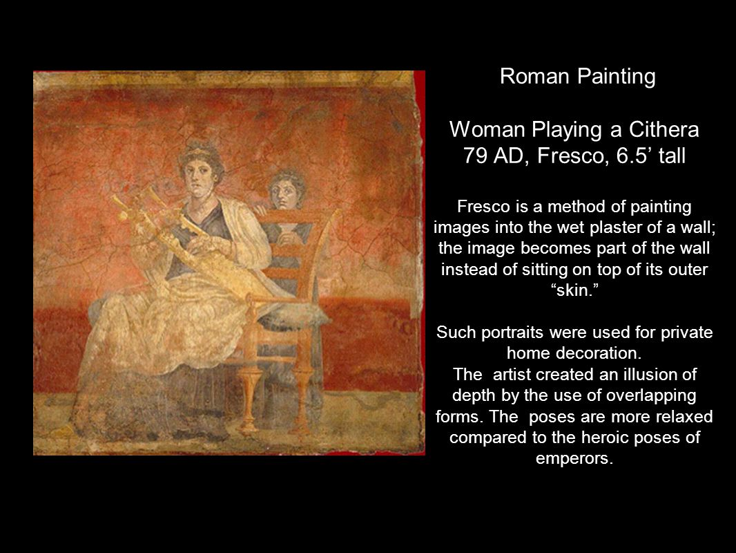 Roman Painting Woman Playing a Cithera 79 AD, Fresco, 6
