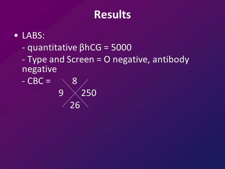 Results LABS: - quantitative βhCG = 5000