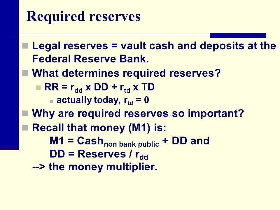 Required reserves Legal reserves = vault cash and deposits at the Federal Reserve Bank. What determines required reserves