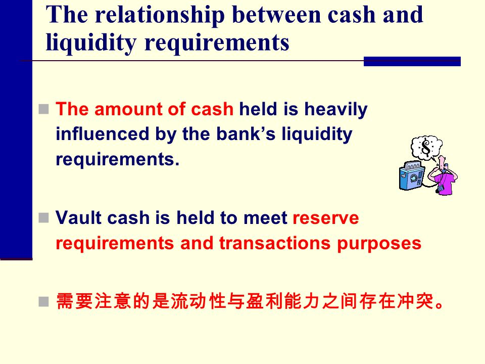 The relationship between cash and liquidity requirements