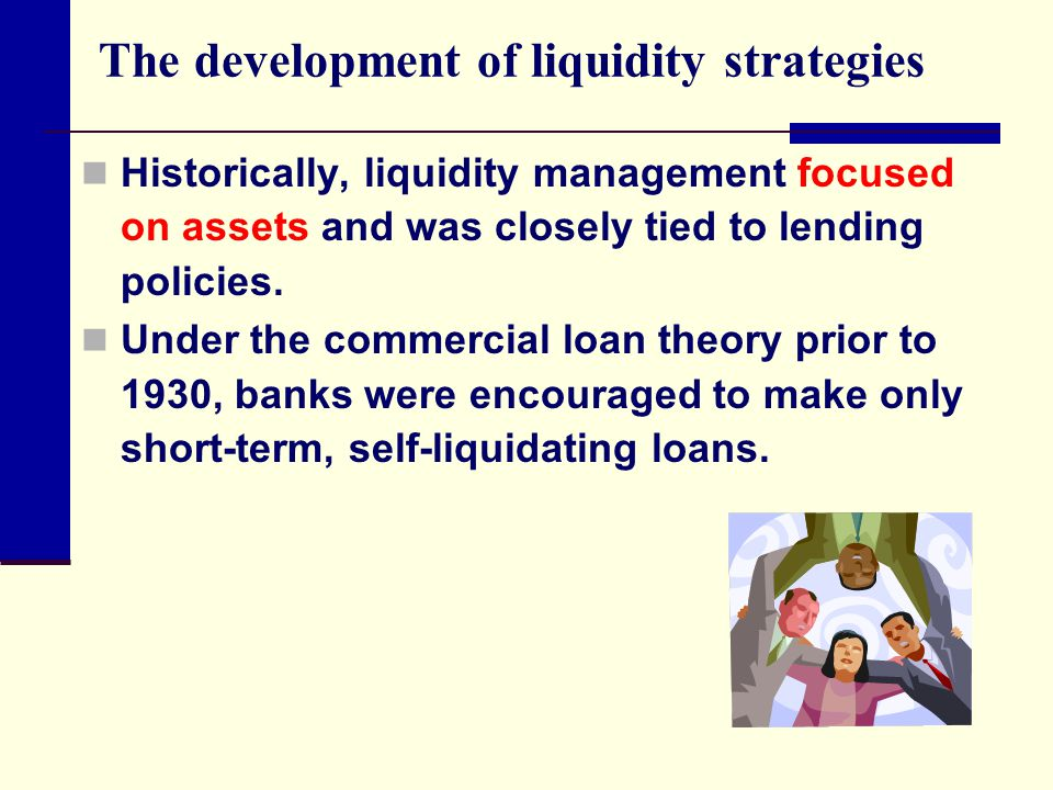 The development of liquidity strategies