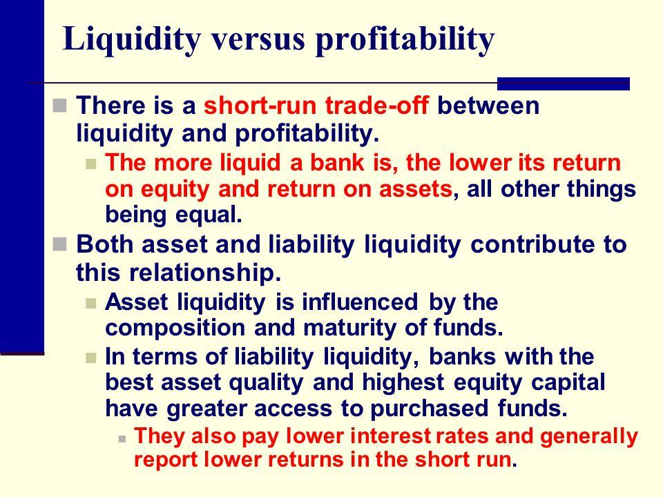 Liquidity versus profitability